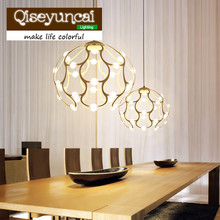 Qiseyuncai 2017 New Nordic warm and romantic restaurants led Iron Chandelier modern simple living room lamps