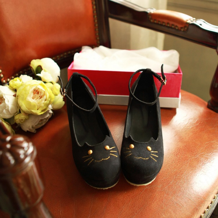spring and autumn Fashion girls cat shoes leopard print wedges single shoes platform shoes womens cute cat shoes<br>