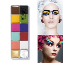 IMAGIC Brand Face Body Paint 12 Flash Colors waterproof Face Paint Body Paint  Halloween glowing paint make up Natural maquiagem