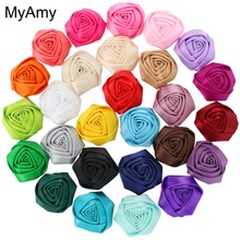 MyAmy 100pcs/lot 1.8''-2'' Satin Rolled Rosettes Kids Boutique Rose Flowers Girls Shoes/ Clothing /Hair Acessories Free Shipping(China)