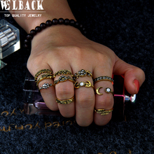 Welback 11pcs/lot vintage beach style rings for women sun rose flower leaf rhinestone moon Electrical black treatment ring(China)