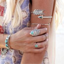 Rock Style Silver Decorations Cupid Arrow Upper Arm Bangle Leaf Open Cuff Bracelet Armband Armlet