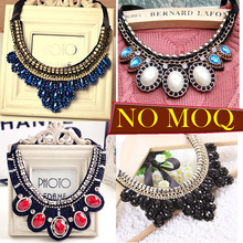 Fashion Crystal Beads Charm Choker Necklace Popular Bead Braid rope necklace leaf blue rhinestone Necklace bib statement pendent(China)