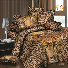 Free Shipping 3d Bedding Sets Leopard Printed Queen Size 4Pcs Bedclothes Pillowcases Bed Sheet Duvet Cover Set.(China)