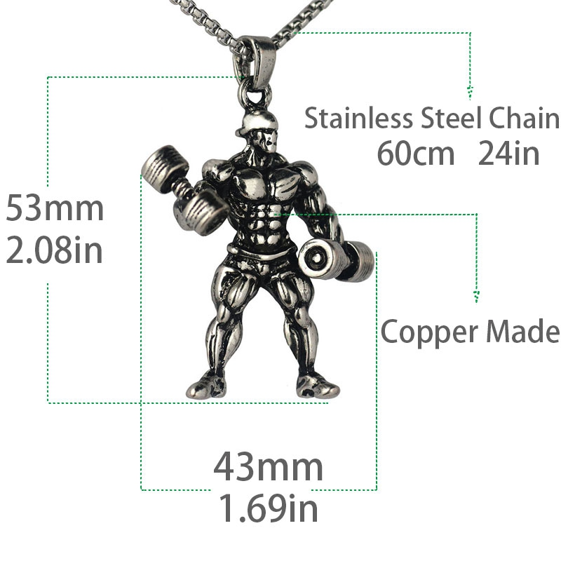 Strong Muscle Man Dumbbell Pendant Necklace Men Stainless Steel Chain Fitness Necklace Jewelry Gym Hip Hop Style TN-0152