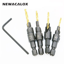 NEWACALOX 4PCS Wood Countersink Drill Bit Set Hex Shank Chamfer Bore Hole Cutter Woodworking Electric Carving Tools Boring Tool(China)