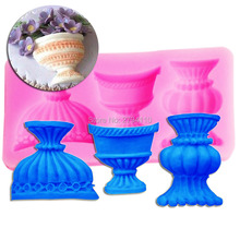 M360 European classical Flower Vase Silicone Fondant 3D Cake Mold Cupcake Candy Chocolate Decoration Baking Tool 12.5*6.7*1.9cm