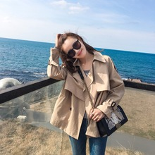 Women Sweet Cute Wind Coat Short Solid Color Plus Size Female Dust Coat Turn-down Collar All Match Girl Outwear Clothing MY0122(China)