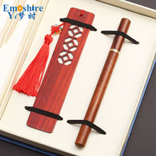 Mahogany Signature Pen Suit Chinese Style Gift Crafts Wooden Bookmarks School Office Creative Bookmark Gifts Custom M040(China)