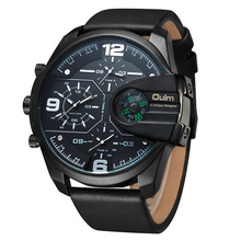 2017 Luxury Men's Oulm Watch Sport relojes Japan Double Movement Square Dial Compass Function Military Cool Stylish Wristwatches