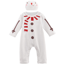 Baby Boy Girl Snow Man Costume Romper with Hat Christmas Party Playsuit Infant Jumpsuit(China)