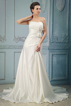 2016 New  Design  White Sweetheart  Appliques Crystay Bow  A-Line & Silk Taffeta Wedding Dress Bridal Gown Custom Made Size
