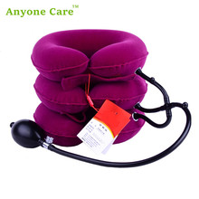 100% Brand New Full velvet neck traction device Household medical inflatable collar cervical vertebra traction massager(China)