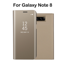 Electroplated Mirror Flip Smart Sleep Leather Cover For Samsung Galaxy Note 8 Case Luxury Original For Samsung Note 8