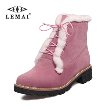LEMAI 2017 Snow Boots,Women Winter Boots Fur, Ankle Boots For Women Warm Winter Shoes Big Size #34-43(China)
