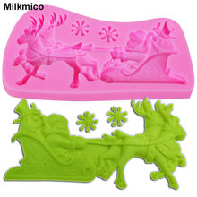 Milkmico M114 Christmas deer Sleigh silicone mold Snowflake shape mould for soap fondant molds DIY cake decorating tools(China)