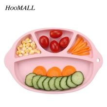 Hoomall 4 Grid Food Grade Silicone Heat Resistant Food Feeding Plate Baby Tray Dishes Kids Toddler Fruit Snacks Tableware(China)