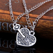 1 pair Fashion Heart Lock Key Pendant Charm Necklace Best Friends Lovers Couple Necklace Jewelry Gift