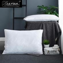 LILYSILK 100 Pure Silk Lined Pillow Neck Body Washable Cotton Covered Sleep Throw White Height 13cm Chinese Free Shipping(China)