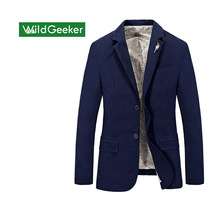 Wildgeeker Men Blazer 2017 Spring Autumn Single Breasted 100% Cotton Parka Men's Slim Fit Jackets Royal Bule Plus Size S -XXXXL