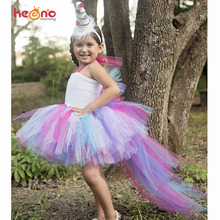 Unicorn Bustle Tutu Dress Girls Birthday Party Dress Up Costume Colorful Pony Mane Girl Dress with Long Tail Little Horse Dress(China)