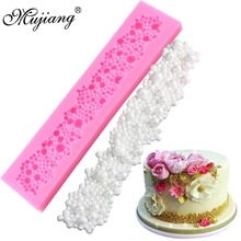 Mujiang Pearl Cake Border Silicone Molds Wedding Christmas Cupcake Fondant Cake Decorating Tools Gumpaste Chocolate Clay Moulds