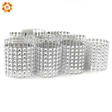Hot Sale 20PCS/Lot Silver 8 Rows Bow Covers With Closure Napkin Ring Diamond For Wedding Party Chair Sashes Decoration Crafts