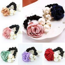 6 Colors Big Rose Flower Scrunchie Ponytail Elastic Rope Rubbers Women Headwear Simulated Pearl Hair Bands Accessories Jewelry