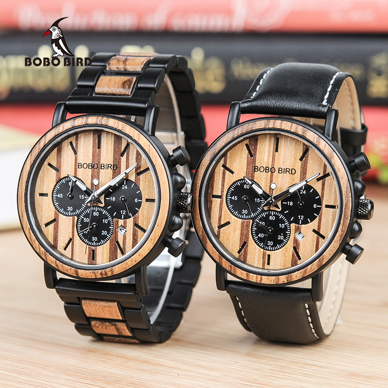 BOBO BIRD V-P09 Wood Watches Men Business Luminous Hands Wristwatch with Stainless Steel Case Wood/Leather Band Availble<br>