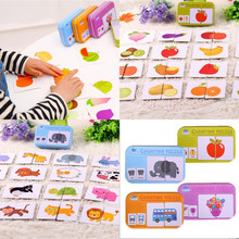 32pcs Puzzle Cards Child Literacy And Cognition Cultivating Cards Iron Box Packing For Baby Puzzle Kids Educational Toys(China)