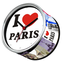Free Shipping To I Love PARIS 2pcs/lot Packed France City Kitchen Fridge Magnets Aluminum Can Wall Clocks,Metal Tin Desk Clocks