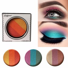 Whosales 3 Colors Retro Pearl Eye Shadow Earth Color Red Orange Blue Green Purple Full Professional Makeup Palette 6g(China)