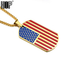 HIP Gold Color Titanium Stainless Steel Big Dog Tags USA Symbol American Flag Pendants Necklaces for Men Jewelry
