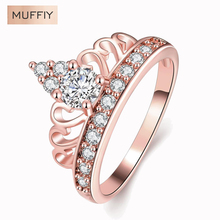 Europe And The United States Retro High-End Crown Queen Crown Ring Career Rose Gold Color & Zirconia Gift Women Dress Accessori