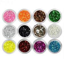 Hexagon Shape 12  Laser Flashing  Changing Color Marquise Acrylic Rhinestone Nail art diamond Nail Art Decoration Hot 12 Pcs/Set