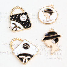New Arrival 50PCS Assorted Beauty Head Women Handbag Shape Oil Drop Jewelry Pendant Charms Gold Tone Enamel DIY Bracelet Charm