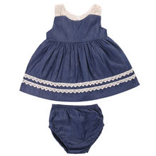 2017 Summer Cute Newborn Baby Girl Clothes Set Sleeveless Lace Vest Dress Top+Bloomers Bottom Denim Suit Children Clothing - Mommy ^_^ store