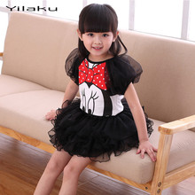 Toddler Girls Summer Clothing Set 2 PS Short Puff Sleeve Cartoon Mickey T-shirt+Black Tulle Bubble Dress Children Frocks Designs