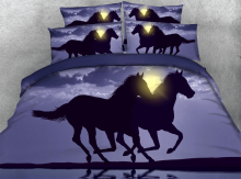 Royal Linen Source 4 Parts of One Set Beddings Horses running on the beach at Sunset 3d Digital animal bed set