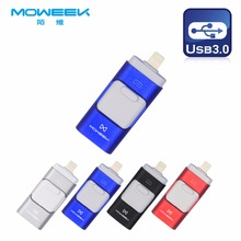 Moweek 3in1 USB Flash Drive 128GB 64GB 32GB pen drive Metal OTG i-Flash Drive HD usb 3.0 memory stick for iPhone and Android(China)