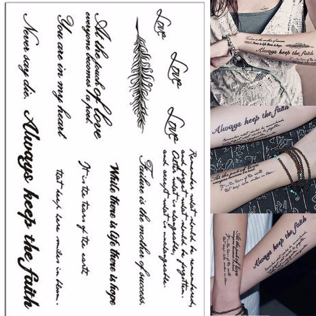 1 Sheet Temporary English Word Tattoo Stickers Black Letters Feather Body Art Tattoos Sticker Waterproof For Temporary Tattoos