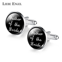 LIEBE ENGEL Cufflinks Father Of The Bride Groom Wedding Cufflinks Silver Color Men's Jewelry Black Cuff links 2017(China)
