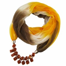 Resin pendnat necklace women Silk Scarf Jewelry decoration fashion autumn Ethnic Jewelry Christmas Gift(China)