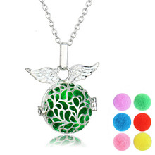 1 pcs  Hollow out Locket Perfume pendant Necklaces For women Angell wing Aromatherapy Locket with perfume ball