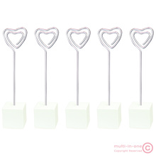 lot 5pcs white cube heart wire standing memo&photo&note&card&desk/picture clip holders,personalized&customized promotional gift