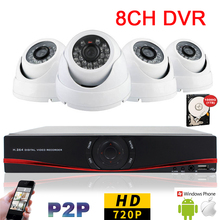 8CH CCTV DVR Cameras System 4pcs Indoor Dome IP Camera 720P 1MP 8CH DVR 960H Security System Kits Built in 1TB HDD