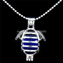 GLOWCAT L230 Trendy Sea Lion Locket Necklace Beads Cage Aromatherapy Essential Oil Diffuser Bright Silver Pendant Necklace