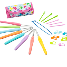 With Free bag Set of 8 Aluminum Crochet Hooks Knitting Needles Multi color Plastic Grip Non-slip Handle Weave Craft 2.5mm-6.0mm