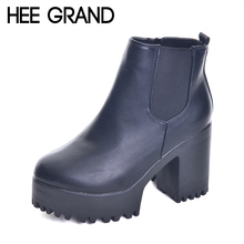 HEE GRAND 2017 New Women Boots Platform High Heels Ankle Boots Women Fashion Ladies Pumps Sexy Shoes Woman Size 35-40 XWX2697