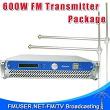FMUSER FSN-600 600W Professional FM Broadcast Radio Transmitter + 2*FU-DV1 Dipole Antenna + Power splitter +30m 1/2'' Cable